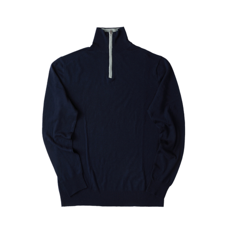 MEN'S 1/4 ZIP COLLAR 16 GAUGE SUPER FINE WOOL PULLOVER