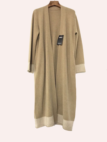 Wool Cashmere Mixed 7 Gauge Women'S Long Cardigan