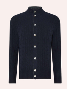 Men'S Pure Cashmere Cable Knitted Cardigan With Shell Buttons